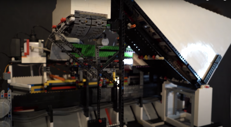 A side view of the LEFO sorting machine showing a large white chute built from LEGO bricks