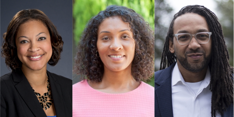 Three headshots: Prof Tia Madkins, Dr Nicol R. Howard, and Shomari Jones