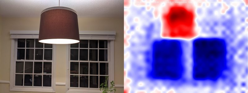 heat map image showing window in blue and lamp in red