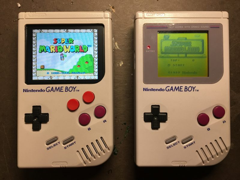 A MonthOfMaking project: two Nintendo Game Boys, one of them hacked with two extra buttons and a colour display