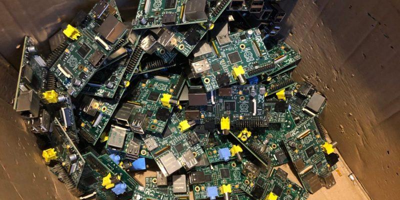 Raspberry Pi 1s in a cardboard box
