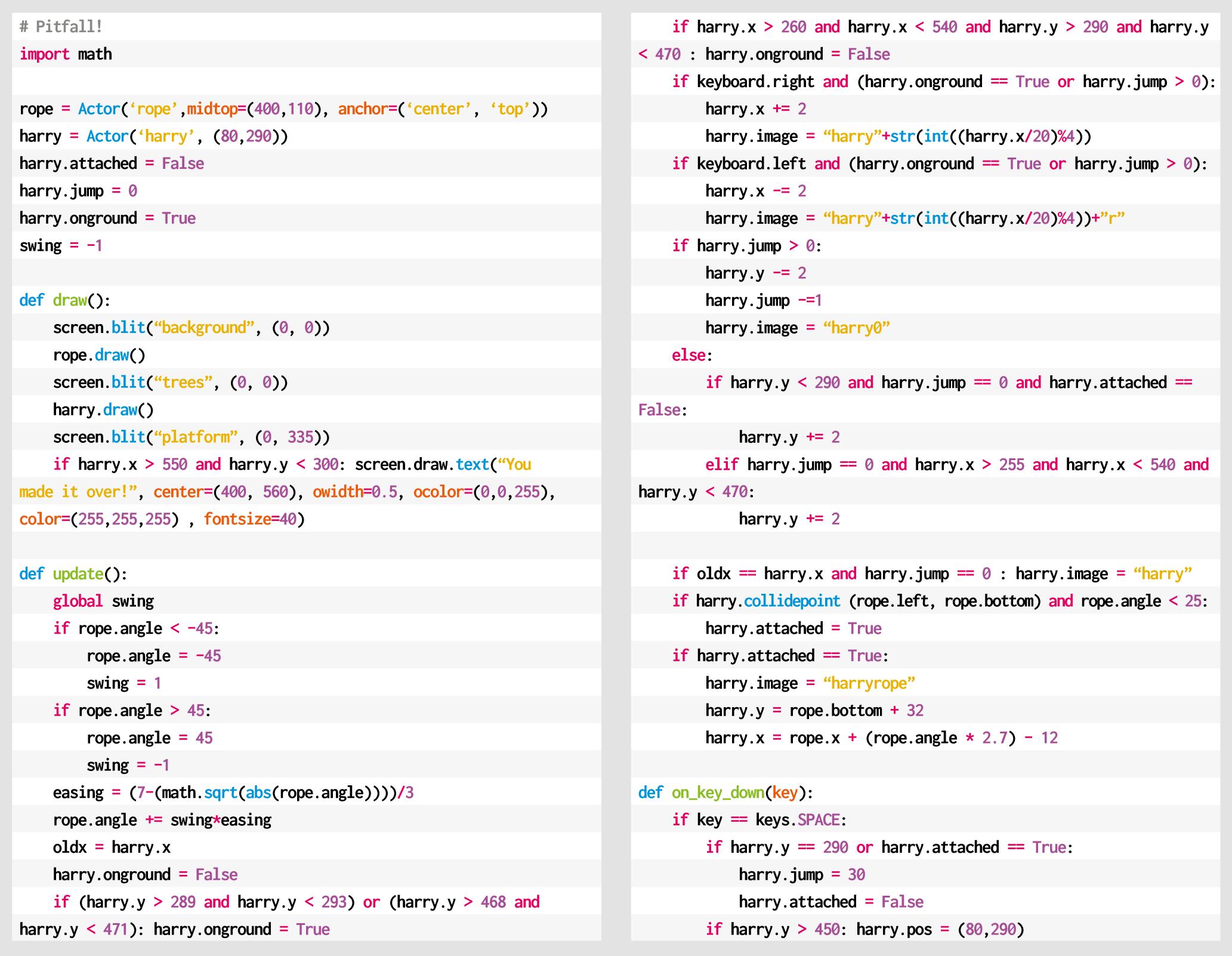 Pitfall Python code