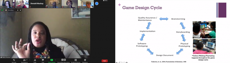 Dr Jakita Thomas presents a slide: Game design cycle: brainstorming, storyboarding, physical prototyping, design document, software prototyping, implementation, quality assurance / maintenance""