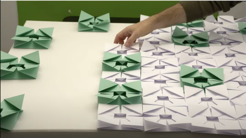 Green and white Origami flowers