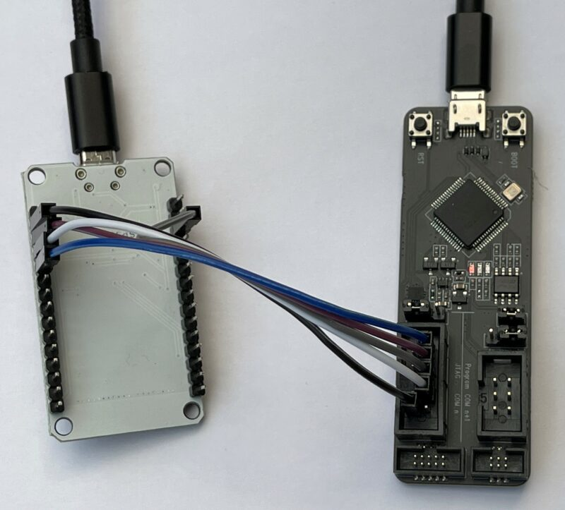 Figure 1 An ESP32-PROG (on the right) connected to a DOIT ESP32 device using direct connection to the JTAG pins