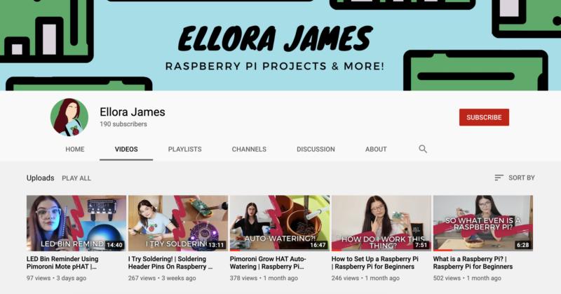 Ellora James YouTube channel screengrab