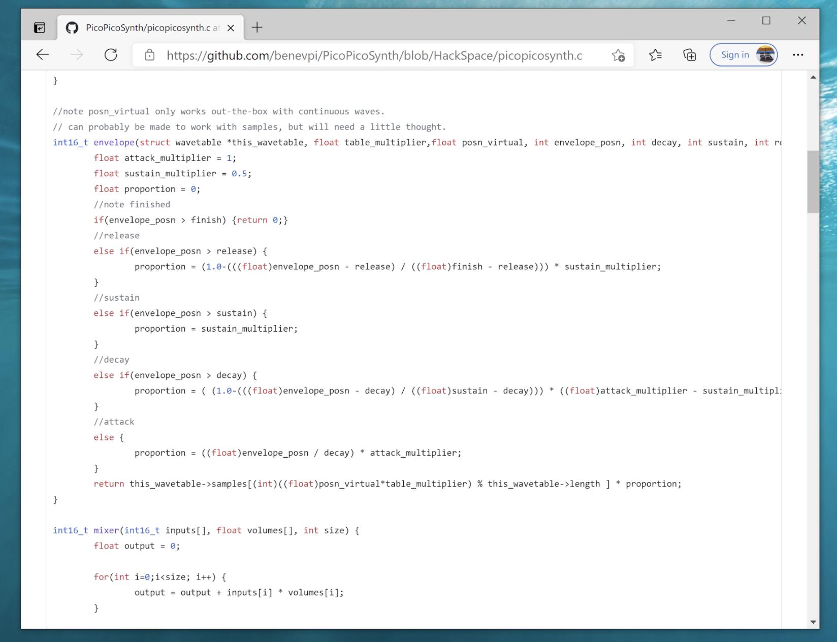 code block for pico audio project