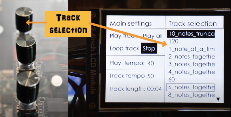 self playing xylophone track selection buttons