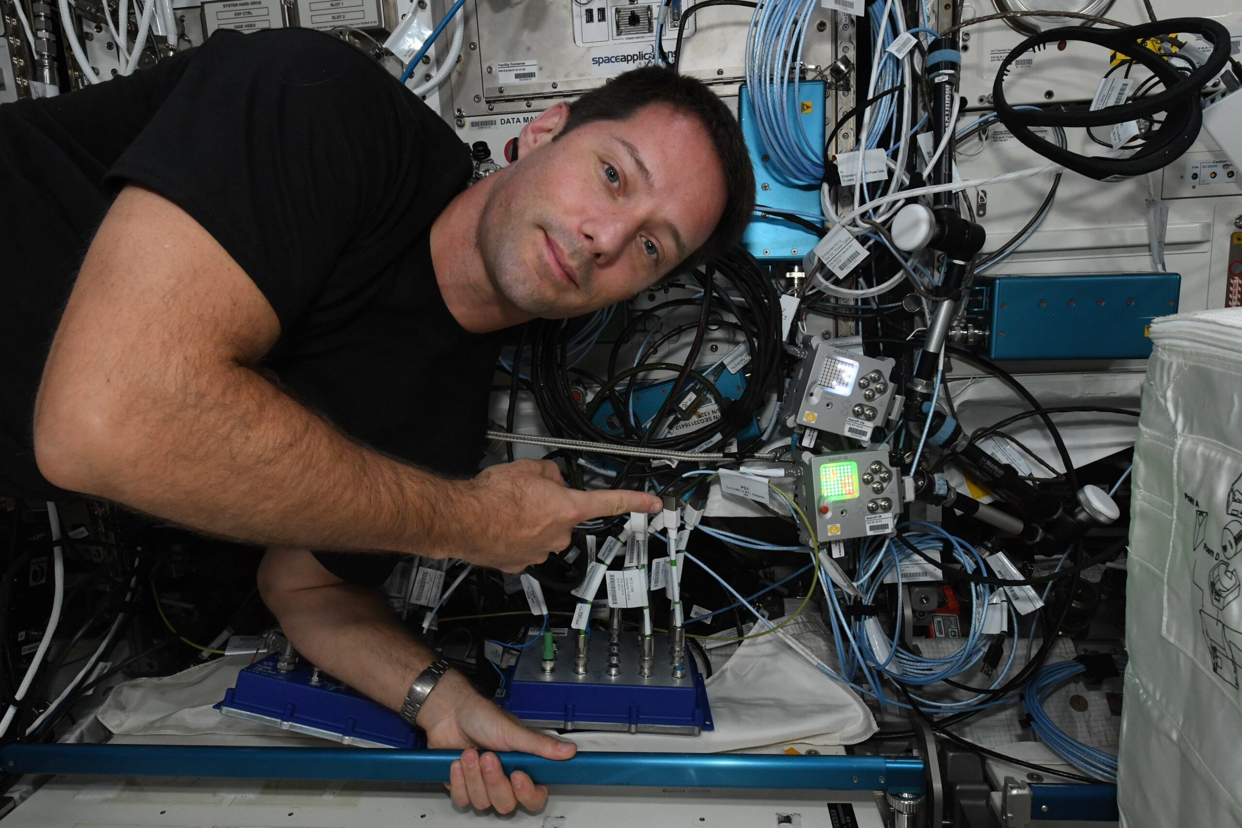 ESA Astronaut Thomas Pesquet with the Astro Pi computers aboard the International Space Station