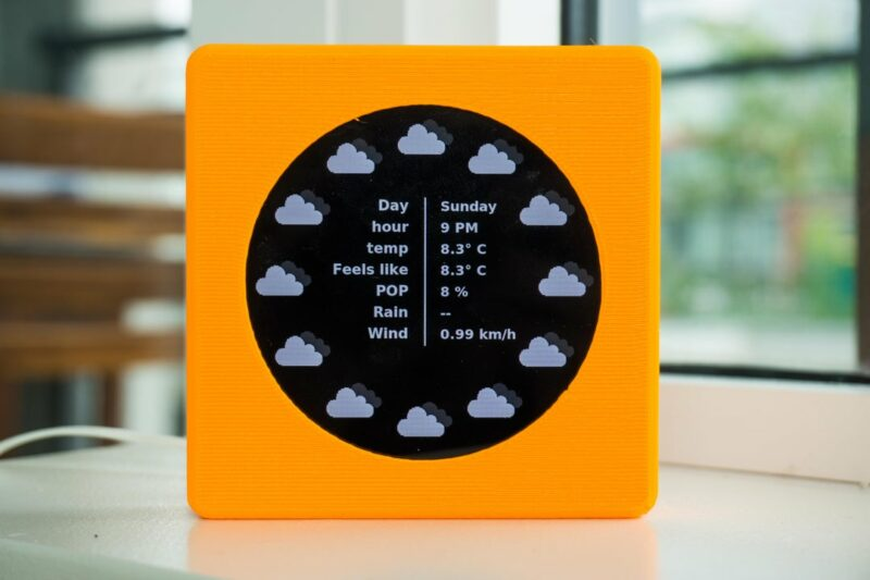 Weather details view of the weatherclock digital-analogue clock project.
