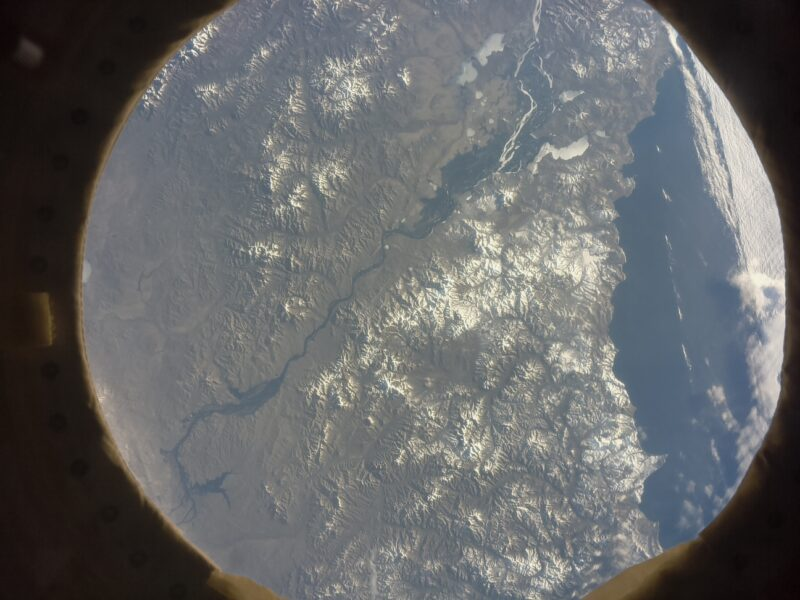 The Amur River and Sea of Oghotsk in Eastern Russia shown from space by an Astro Pi computer on the International Space Station