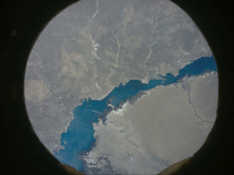 Lake Balkhash in Kazakhstan shown from space by an Astro Pi computer on the International Space Station