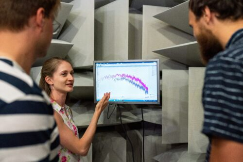 A woman explains a graph on a computer screen to two men.