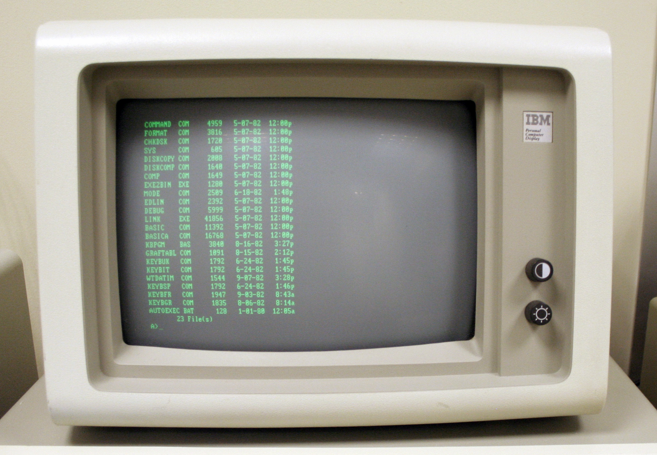 DOS running on an IBM PC 5150 with a monochrome green screen at Hursley