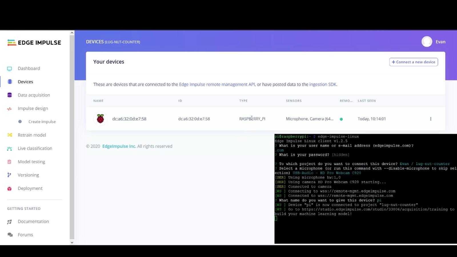 Edge Impulse Machine Learning screengrab