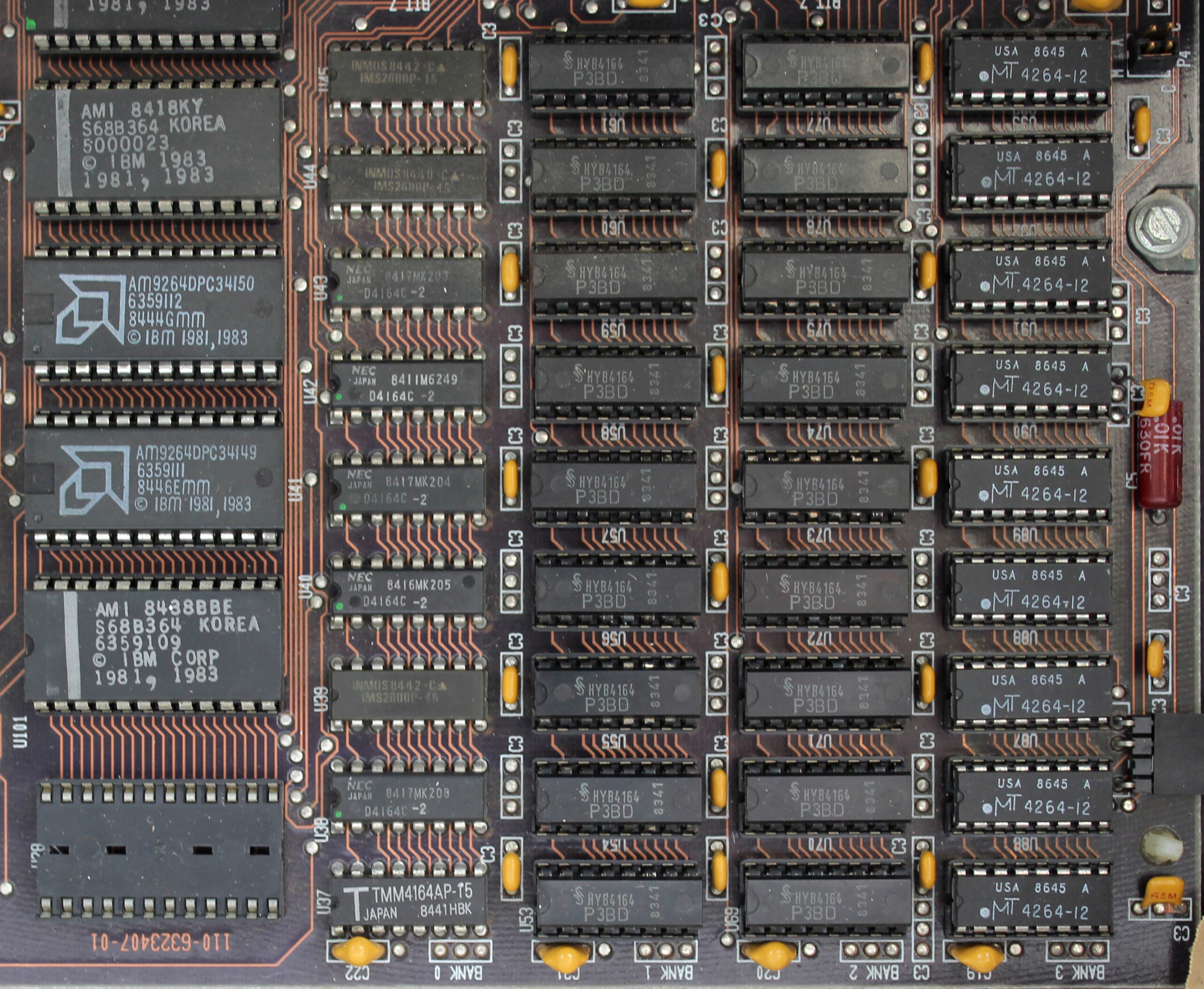 The memory is organised in four banks in the bottom right corner of the motherboard – in this case there are four 64KB banks, adding up to a total of 256KB
