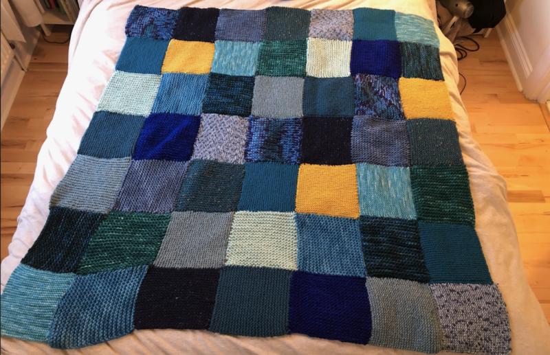anna ploszajski made a blanket from wool materials