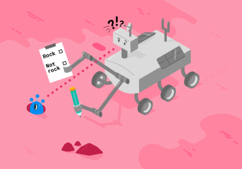 Drawing of a machine learning ars rover trying to decide whether it is seeing an alien or a rock.